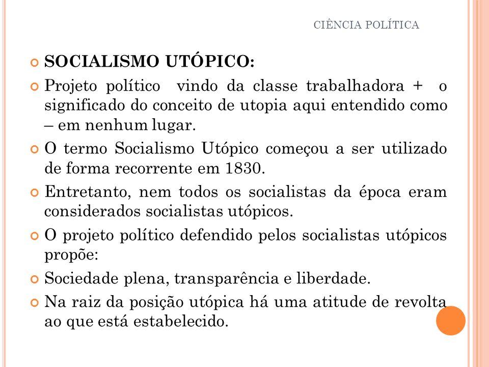 CIÊNCIA POLÍTICA SOCIALISMO UTÓPICO: Projeto político vindo da classe trabalhadora + o significado do conceito de utopia aqui entendido como – em nenh