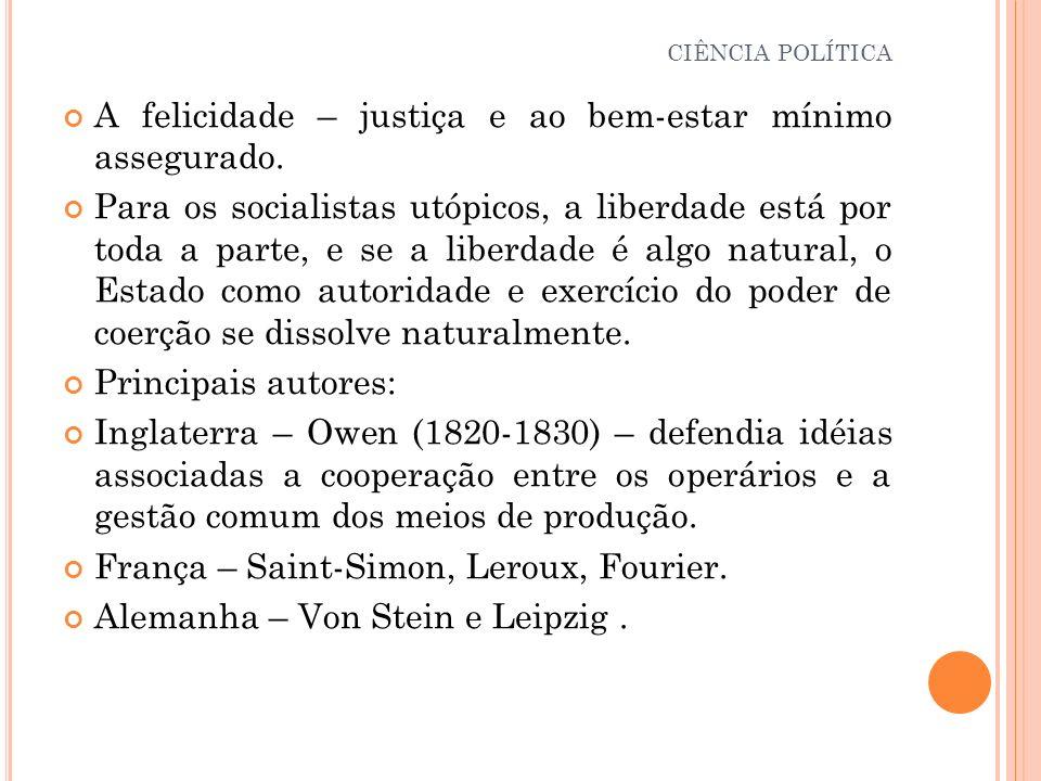 A felicidade – justiça e ao bem-estar mínimo assegurado. Para os socialistas utópicos, a liberdade está por toda a parte, e se a liberdade é algo natu