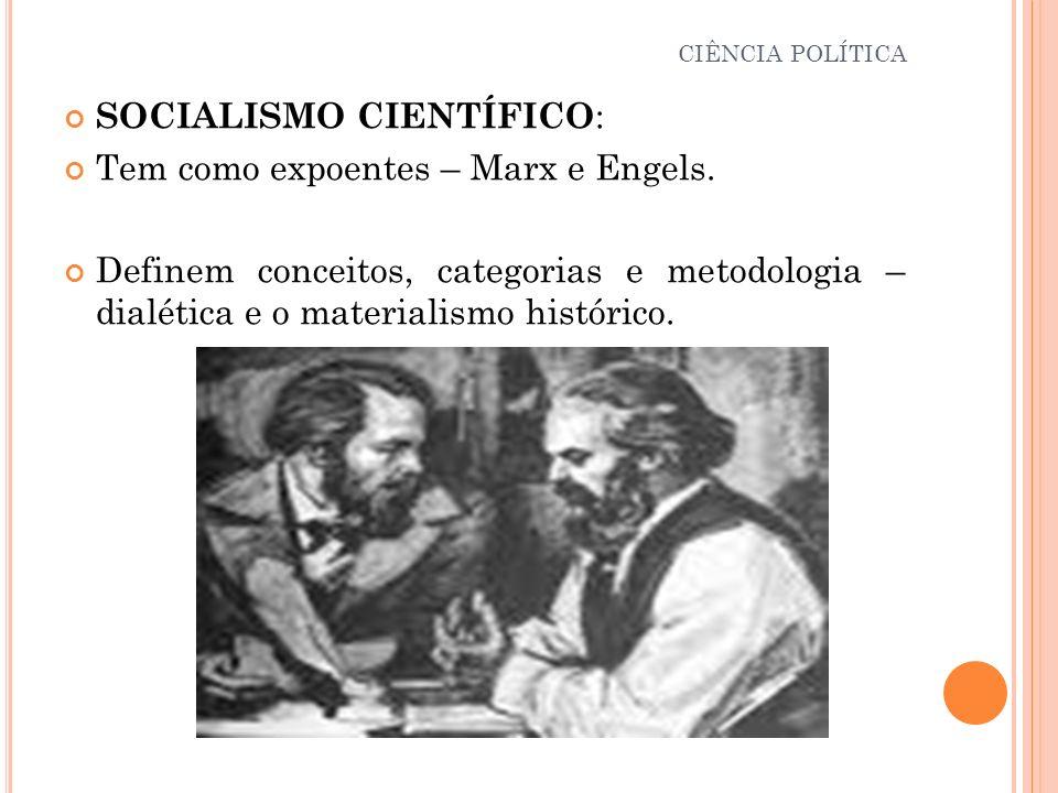 SOCIALISMO CIENTÍFICO : Tem como expoentes – Marx e Engels. Definem conceitos, categorias e metodologia – dialética e o materialismo histórico. CIÊNCI