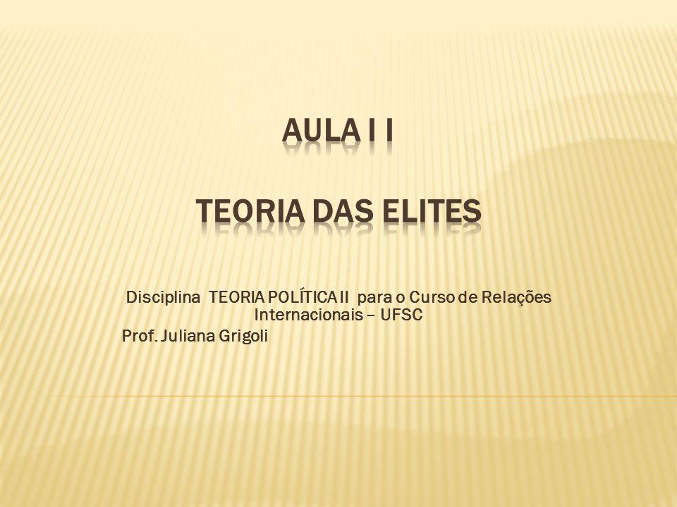 Disciplina TEORIA POLÍTICA II para o Curso de Relações Internacionais – UFSC Prof. Juliana Grigoli