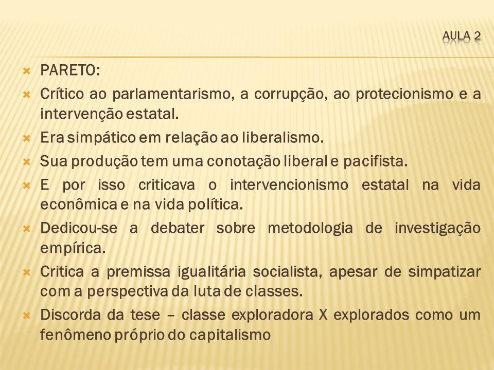 PARETO: Crítico ao parlamentarismo, a corrupção, ao protecionismo e a intervenção estatal. Era simpático em relação ao liberalismo. Sua produção tem u