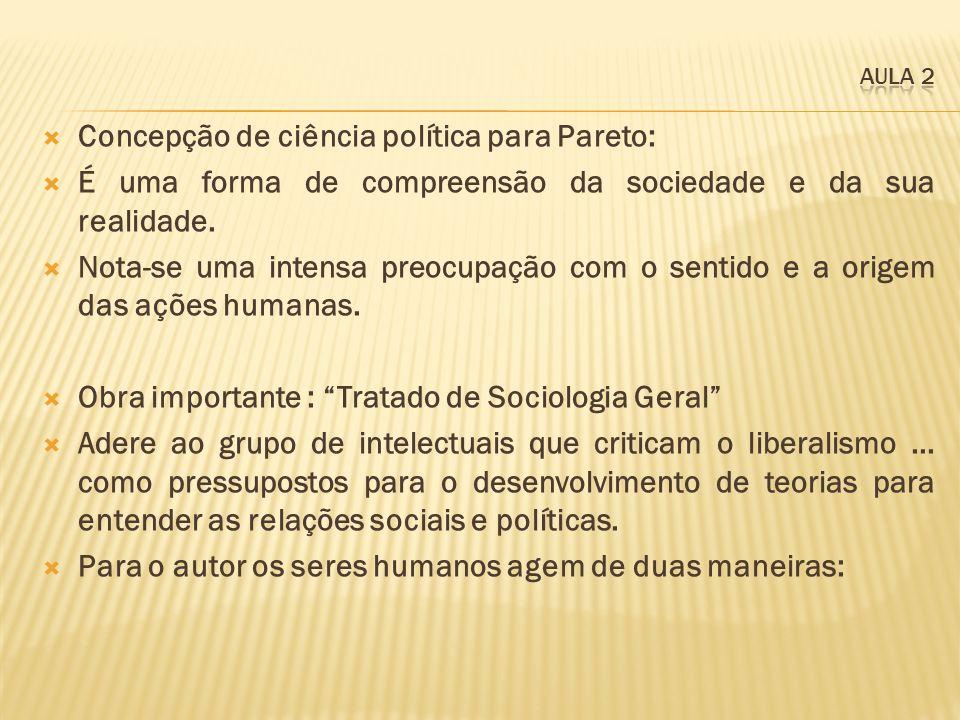 Concepção de ciência política para Pareto: É uma forma de compreensão da sociedade e da sua realidade. Nota-se uma intensa preocupação com o sentido e