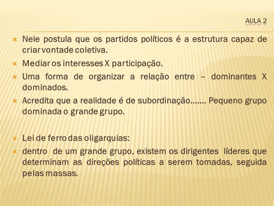 Nele postula que os partidos políticos é a estrutura capaz de criar vontade coletiva. Mediar os interesses X participação. Uma forma de organizar a re