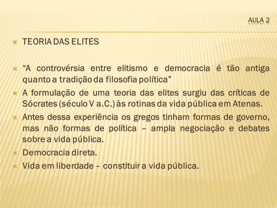 TEORIA DAS ELITES A controvérsia entre elitismo e democracia é tão antiga quanto a tradição da filosofia política A formulação de uma teoria das elite