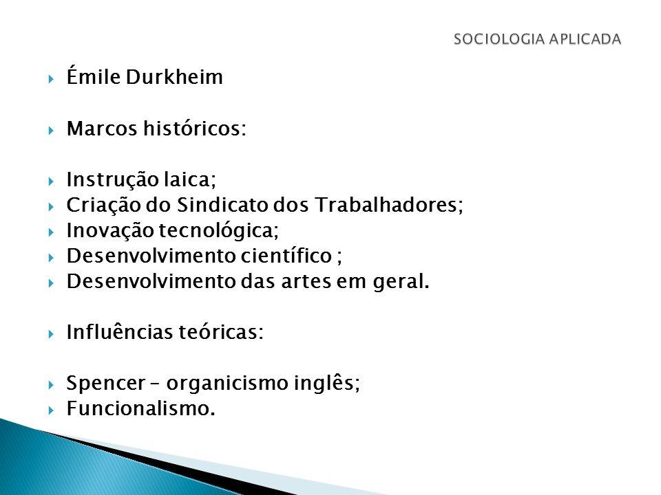 Émile Durkheim Marcos históricos: Instrução laica; Criação do Sindicato dos Trabalhadores; Inovação tecnológica; Desenvolvimento científico ; Desenvol