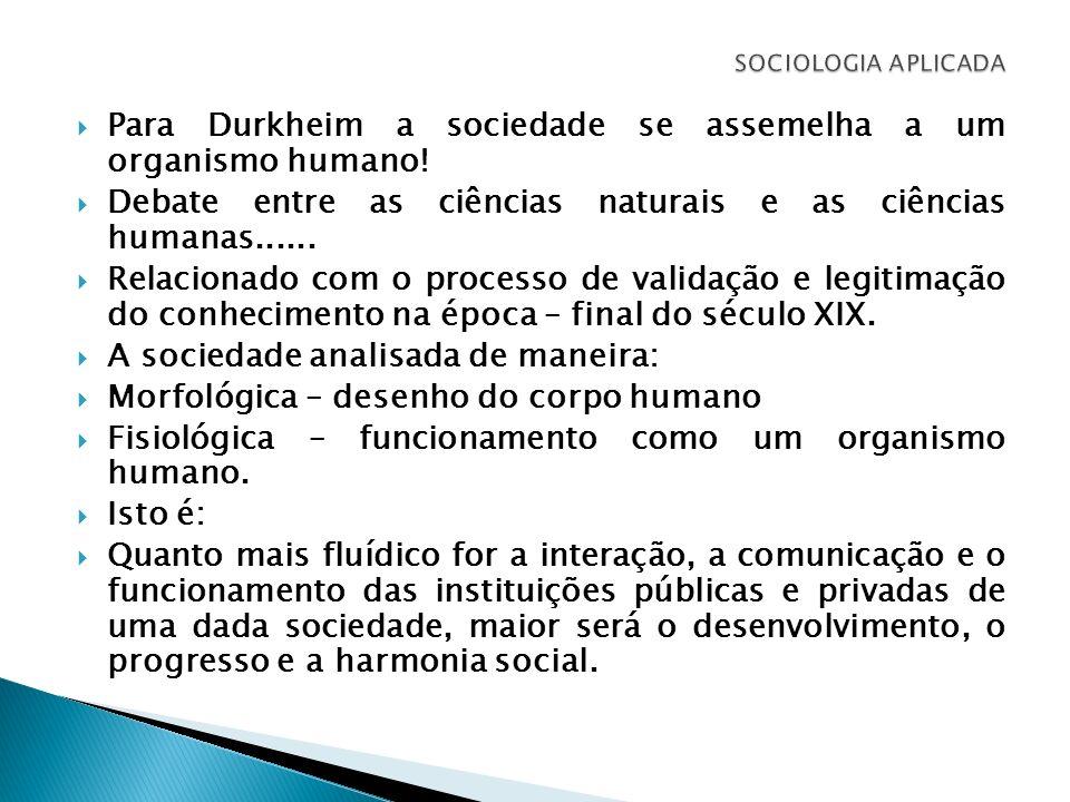 Para Durkheim a sociedade se assemelha a um organismo humano! Debate entre as ciências naturais e as ciências humanas...... Relacionado com o processo