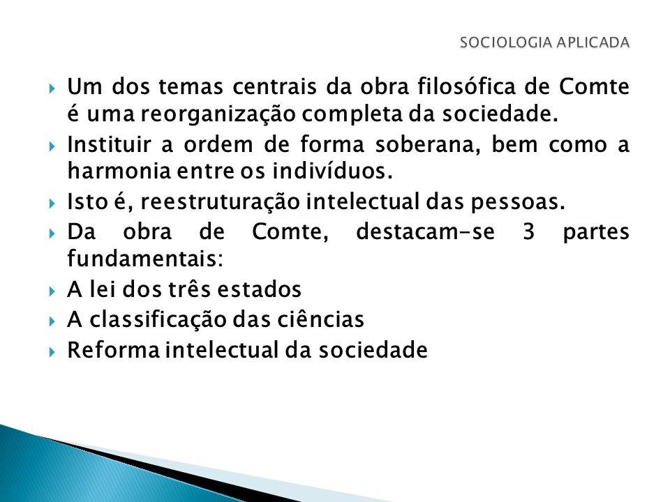 Um dos temas centrais da obra filosófica de Comte é uma reorganização completa da sociedade. Instituir a ordem de forma soberana, bem como a harmonia