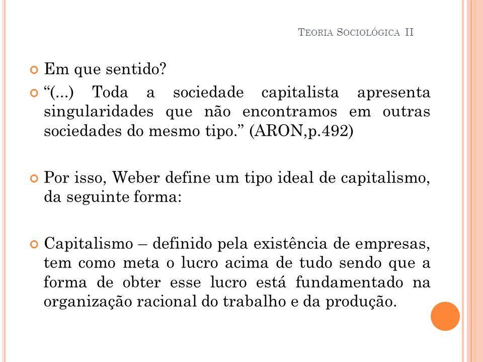 Em que sentido? (...) Toda a sociedade capitalista apresenta singularidades que não encontramos em outras sociedades do mesmo tipo. (ARON,p.492) Por i