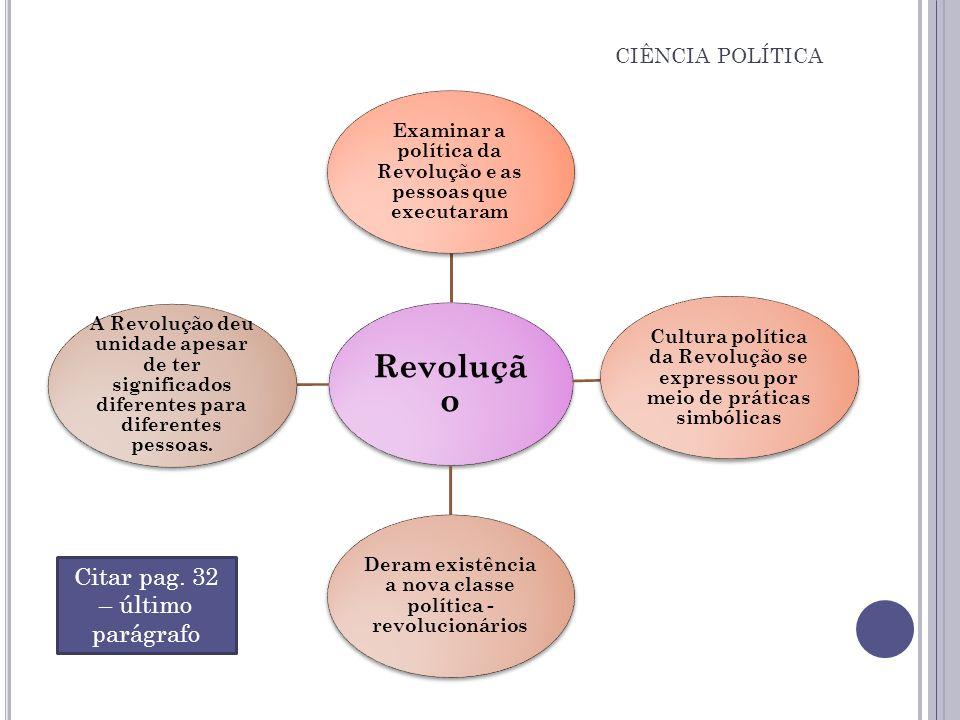 CIÊNCIA POLÍTICA Revoluçã o Examinar a política da Revolução e as pessoas que executaram Cultura política da Revolução se expressou por meio de prátic
