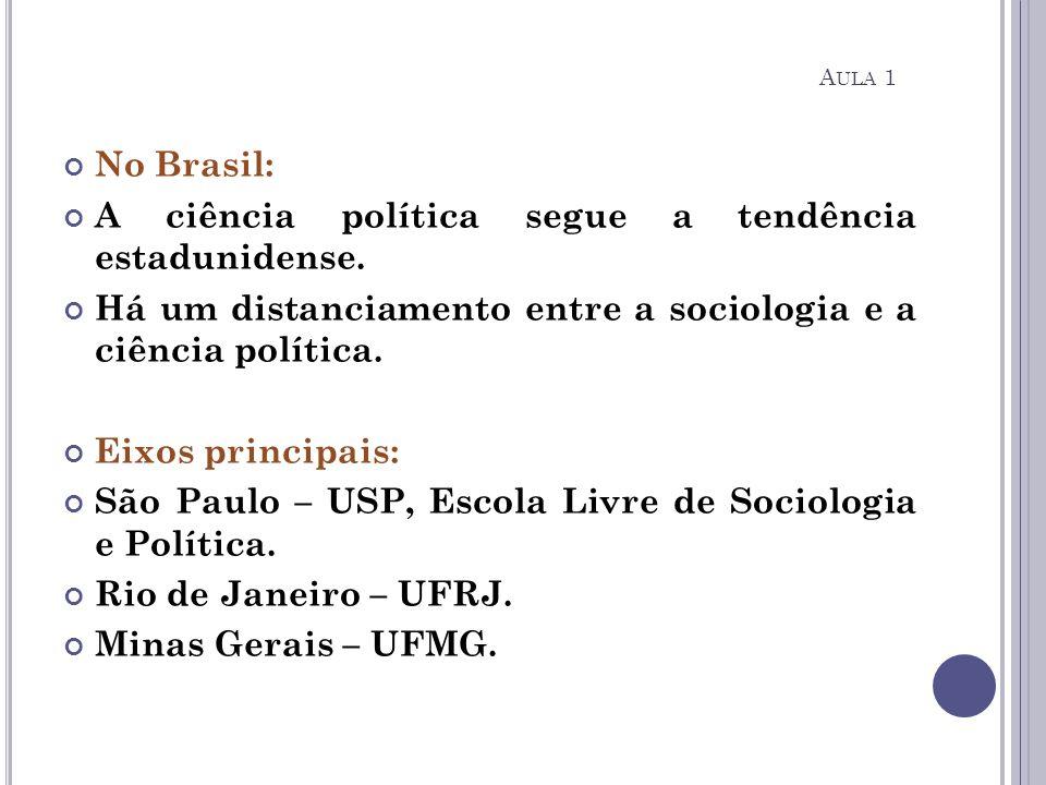 No Brasil: A ciência política segue a tendência estadunidense. Há um distanciamento entre a sociologia e a ciência política. Eixos principais: São Pau