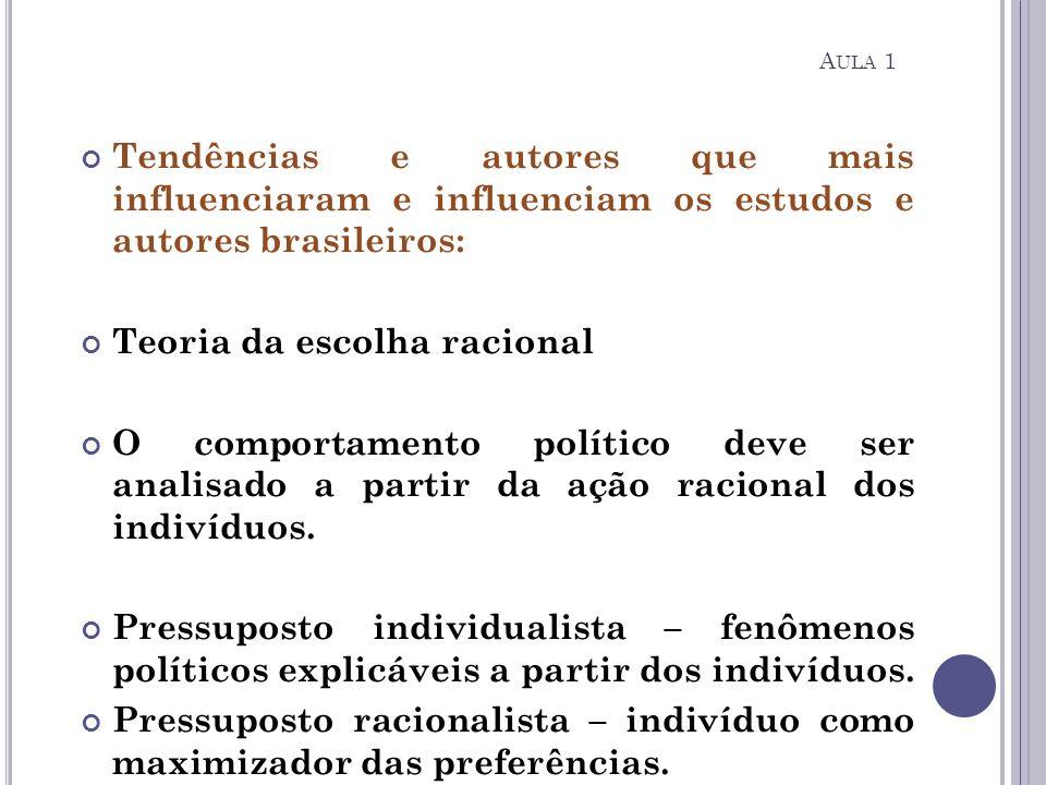 Tendências e autores que mais influenciaram e influenciam os estudos e autores brasileiros: Teoria da escolha racional O comportamento político deve s