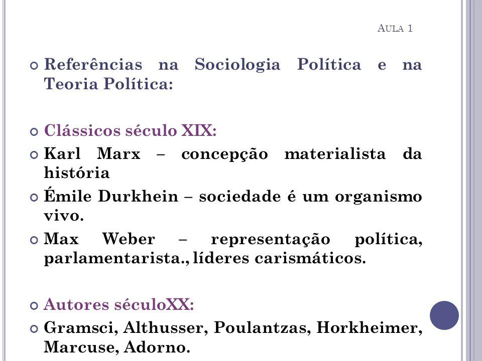 Referências na Sociologia Política e na Teoria Política: Clássicos século XIX: Karl Marx – concepção materialista da história Émile Durkhein – socieda