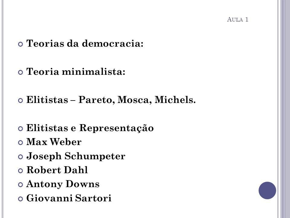 Teorias da democracia: Teoria minimalista: Elitistas – Pareto, Mosca, Michels. Elitistas e Representação Max Weber Joseph Schumpeter Robert Dahl Anton