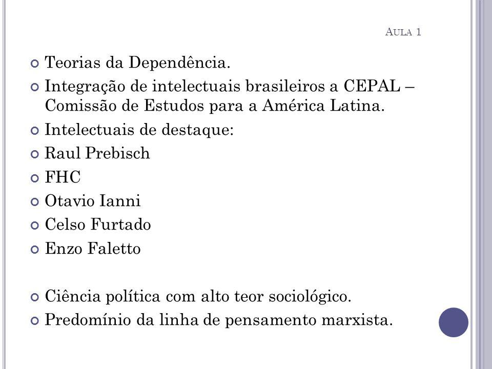 Teorias da Dependência. Integração de intelectuais brasileiros a CEPAL – Comissão de Estudos para a América Latina. Intelectuais de destaque: Raul Pre