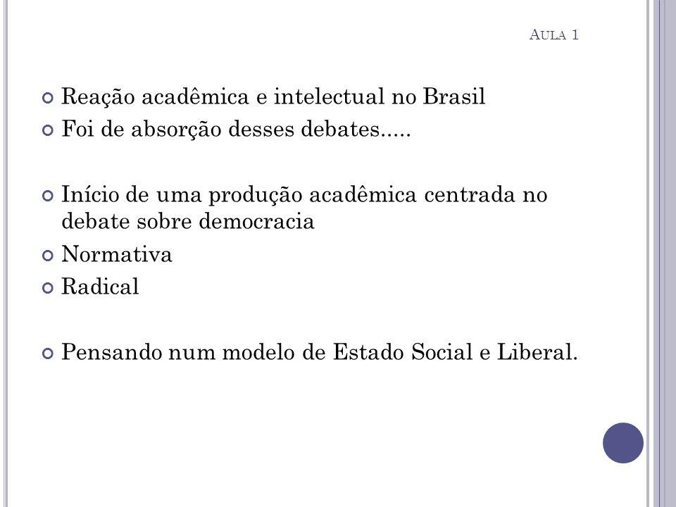 Reação acadêmica e intelectual no Brasil Foi de absorção desses debates..... Início de uma produção acadêmica centrada no debate sobre democracia Norm