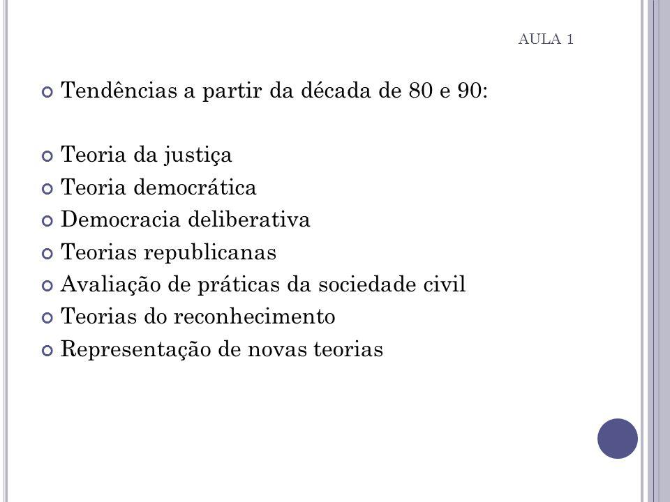 Tendências a partir da década de 80 e 90: Teoria da justiça Teoria democrática Democracia deliberativa Teorias republicanas Avaliação de práticas da s