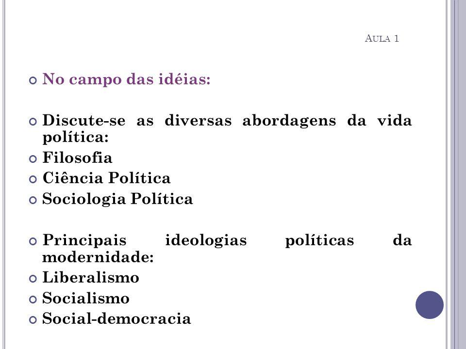No campo das idéias: Discute-se as diversas abordagens da vida política: Filosofia Ciência Política Sociologia Política Principais ideologias política