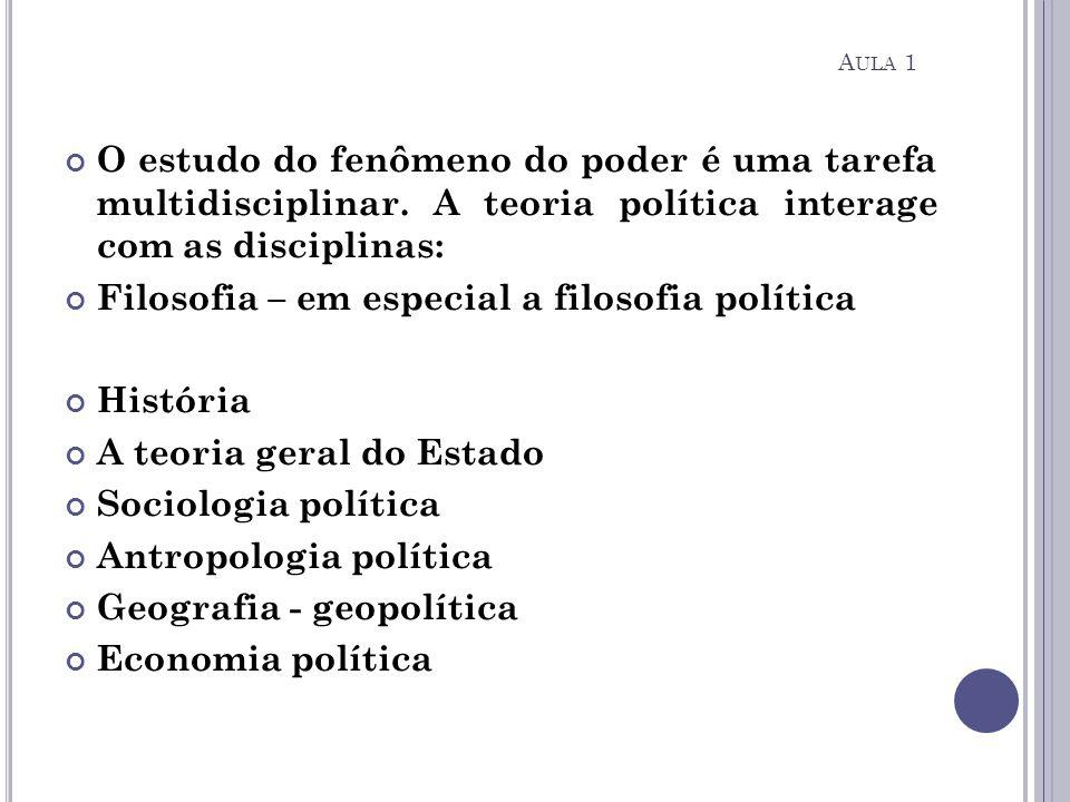 O estudo do fenômeno do poder é uma tarefa multidisciplinar. A teoria política interage com as disciplinas: Filosofia – em especial a filosofia políti
