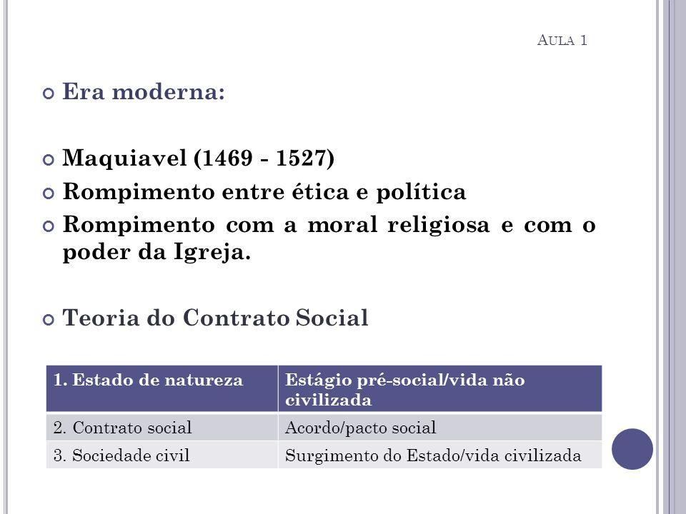 Era moderna: Maquiavel (1469 - 1527) Rompimento entre ética e política Rompimento com a moral religiosa e com o poder da Igreja. Teoria do Contrato So