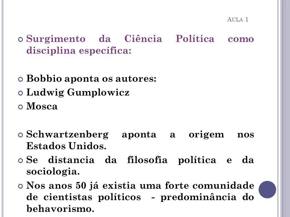 Surgimento da Ciência Política como disciplina específica: Bobbio aponta os autores: Ludwig Gumplowicz Mosca Schwartzenberg aponta a origem nos Estado