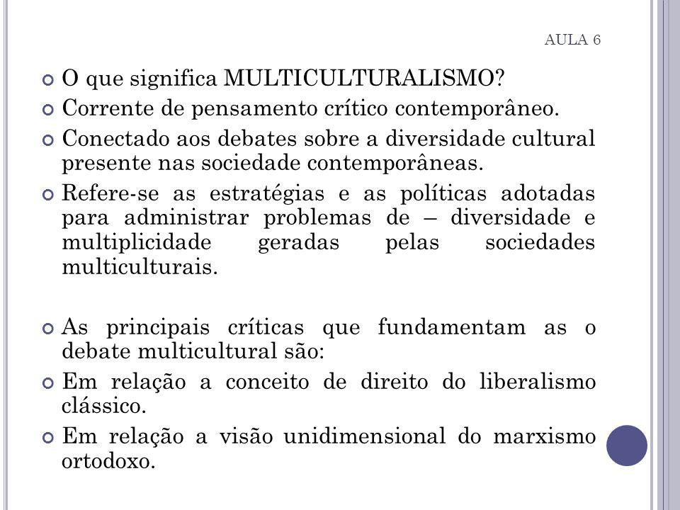 O que significa MULTICULTURALISMO? Corrente de pensamento crítico contemporâneo. Conectado aos debates sobre a diversidade cultural presente nas socie