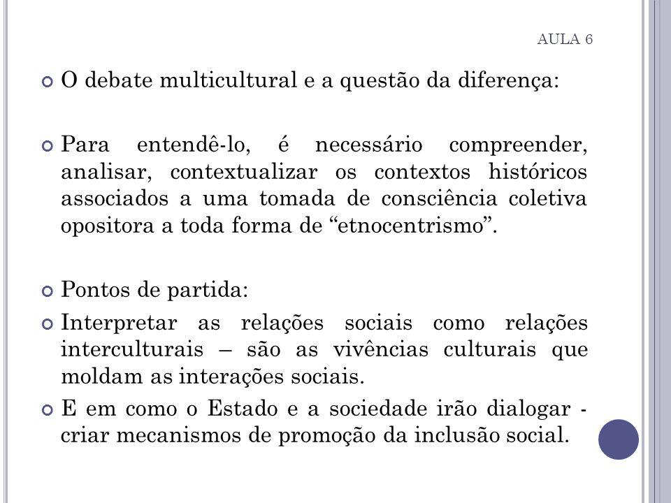 AULA 6 O debate multicultural e a questão da diferença: Para entendê-lo, é necessário compreender, analisar, contextualizar os contextos históricos as