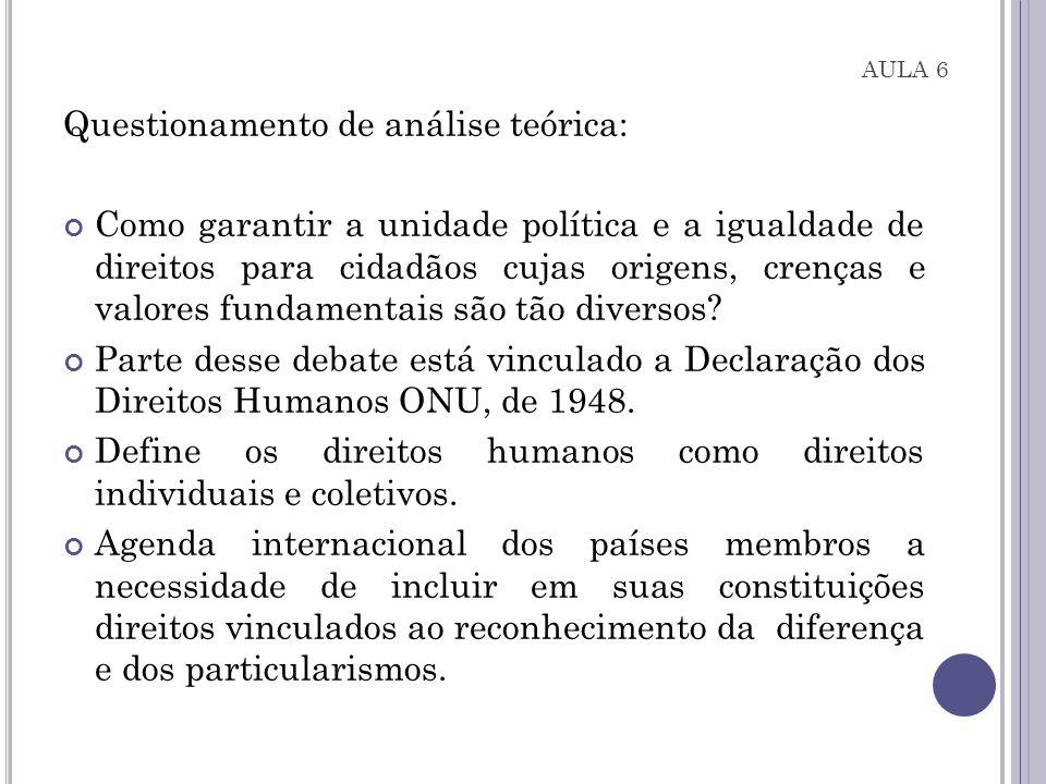 AULA 6 Questionamento de análise teórica: Como garantir a unidade política e a igualdade de direitos para cidadãos cujas origens, crenças e valores fu