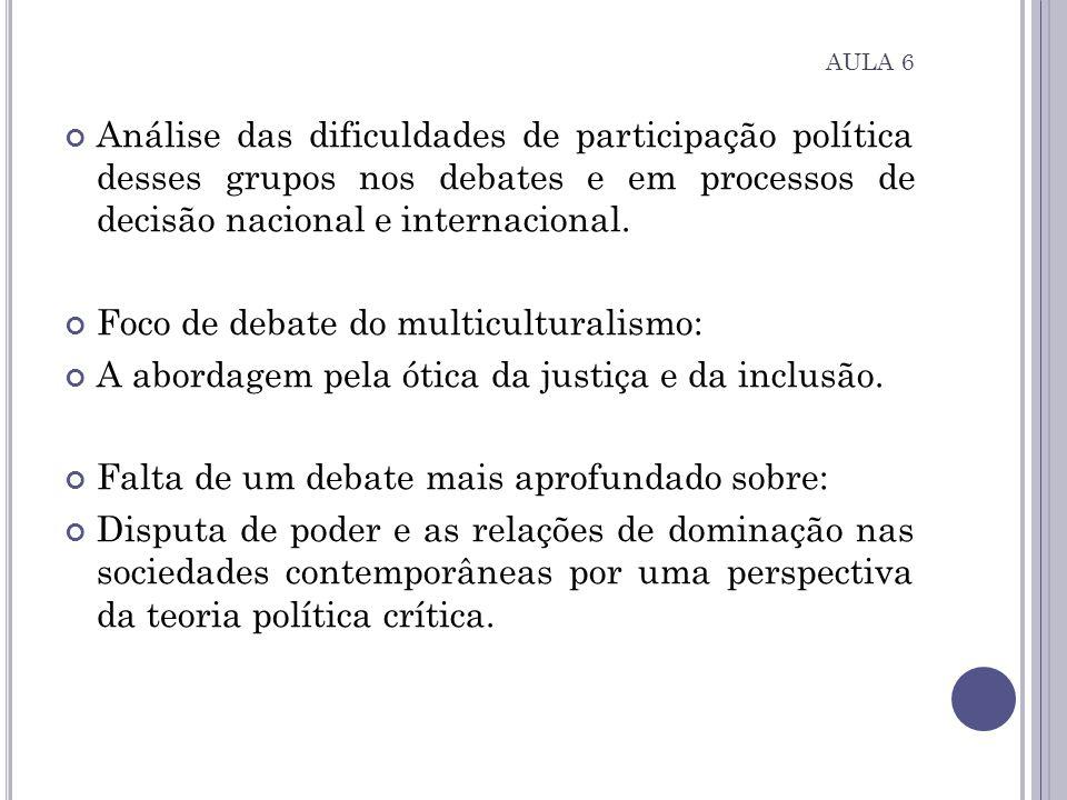 Análise das dificuldades de participação política desses grupos nos debates e em processos de decisão nacional e internacional. Foco de debate do mult