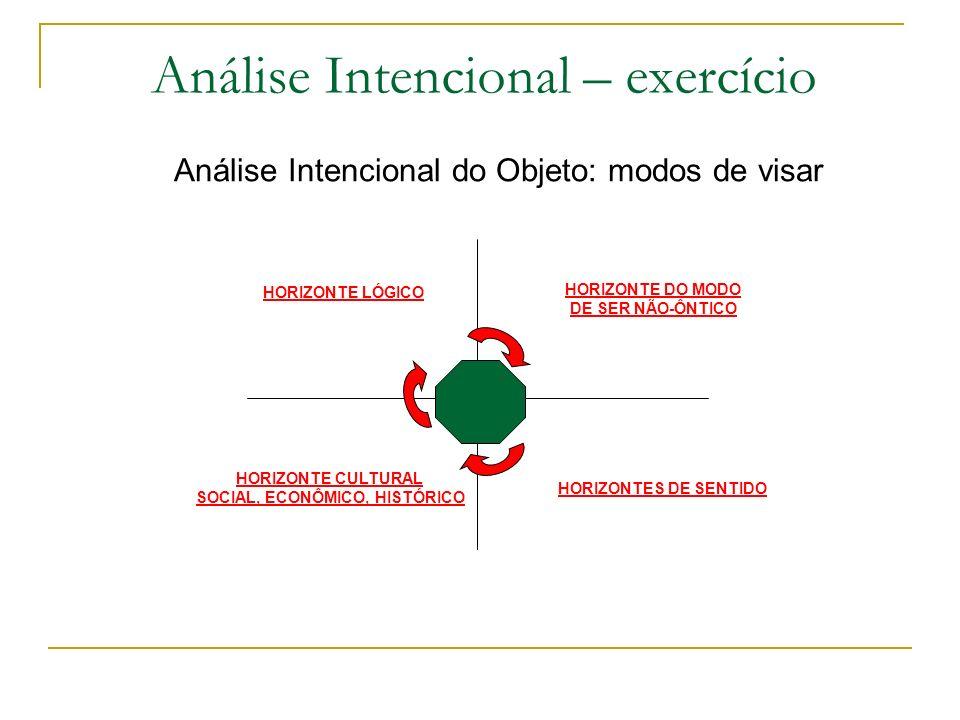 Análise Intencional – exercício Análise Intencional do Objeto: modos de visar HORIZONTE LÓGICO HORIZONTE DO MODO DE SER NÃO-ÔNTICO HORIZONTE CULTURAL