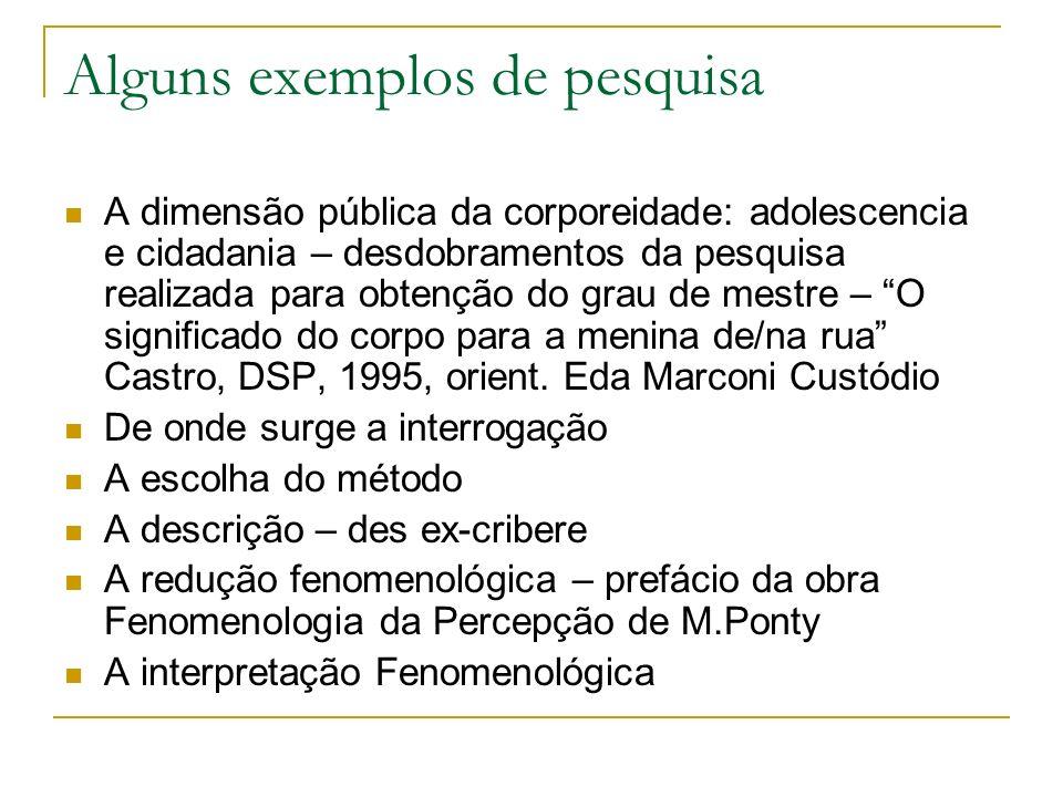 Alguns exemplos de pesquisa A dimensão pública da corporeidade: adolescencia e cidadania – desdobramentos da pesquisa realizada para obtenção do grau