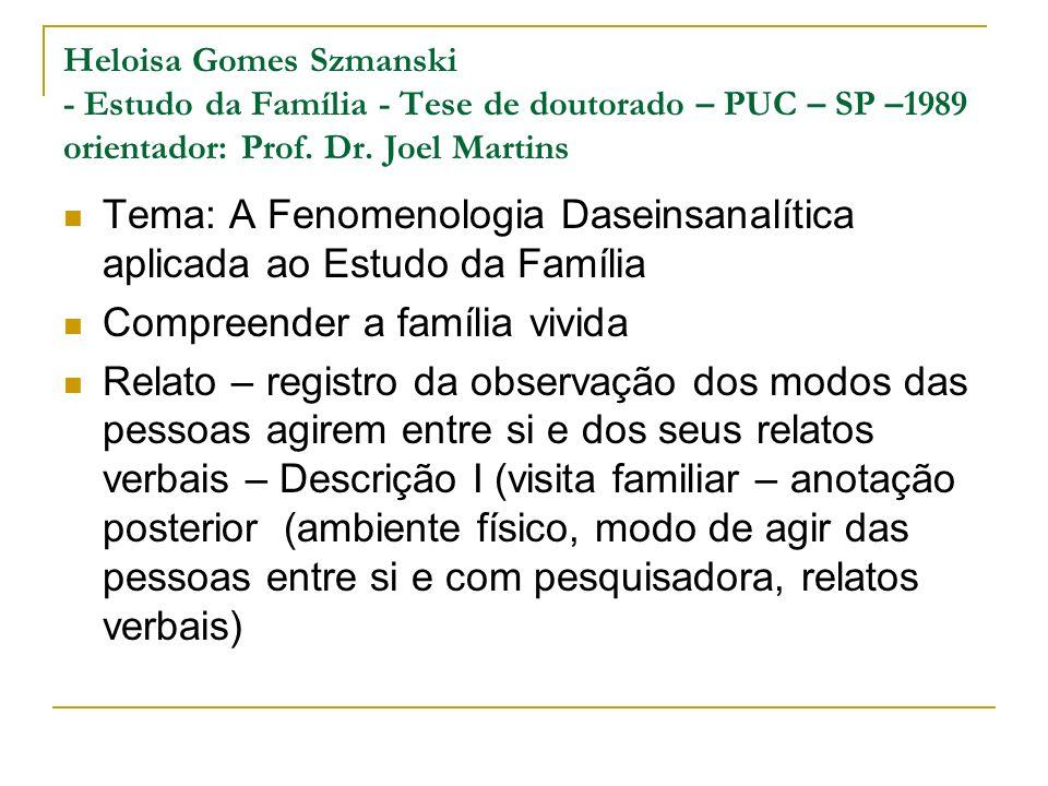 Heloisa Gomes Szmanski - Estudo da Família - Tese de doutorado – PUC – SP –1989 orientador: Prof. Dr. Joel Martins Tema: A Fenomenologia Daseinsanalít