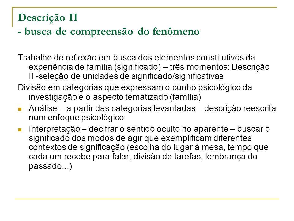 Descrição II - busca de compreensão do fenômeno Trabalho de reflexão em busca dos elementos constitutivos da experiência de família (significado) – tr