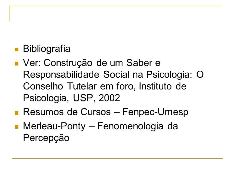 Bibliografia Ver: Construção de um Saber e Responsabilidade Social na Psicologia: O Conselho Tutelar em foro, Instituto de Psicologia, USP, 2002 Resum