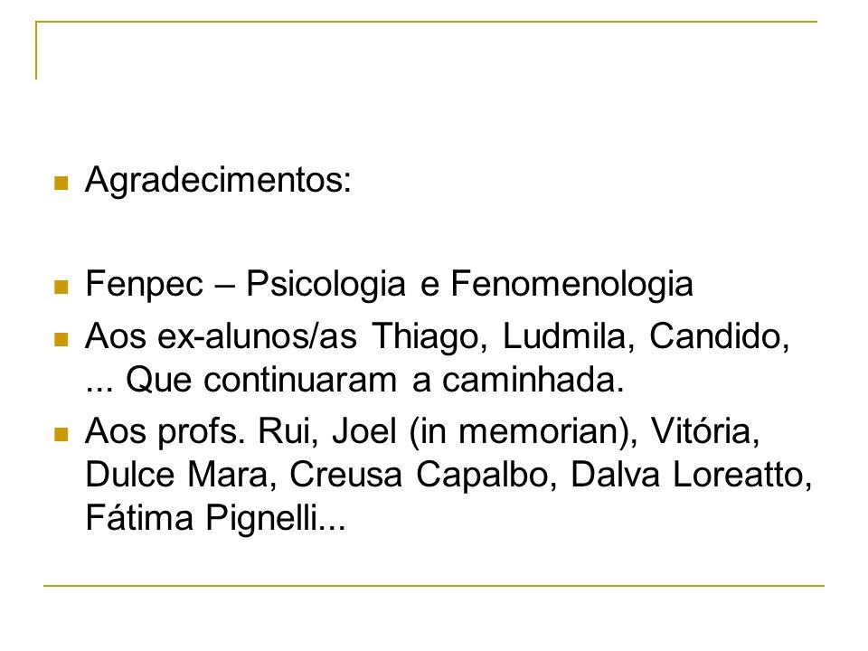 Agradecimentos: Fenpec – Psicologia e Fenomenologia Aos ex-alunos/as Thiago, Ludmila, Candido,... Que continuaram a caminhada. Aos profs. Rui, Joel (i