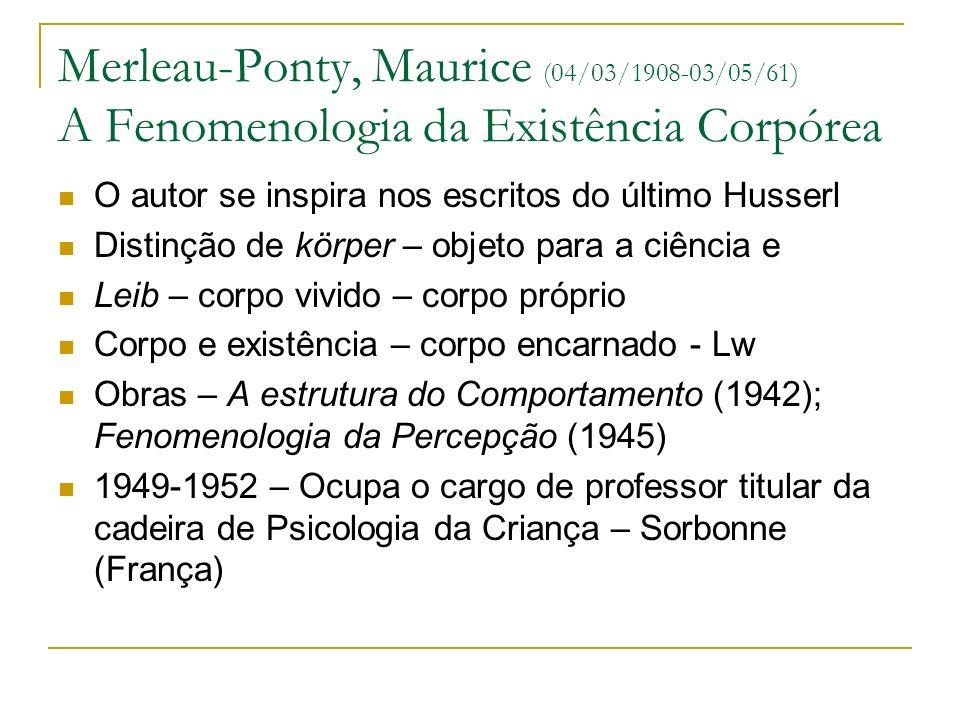 Merleau-Ponty, Maurice (04/03/1908-03/05/61) A Fenomenologia da Existência Corpórea O autor se inspira nos escritos do último Husserl Distinção de kör