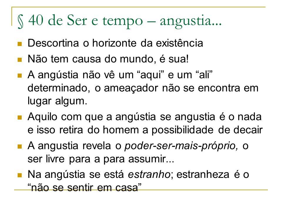 § 40 de Ser e tempo – angustia...