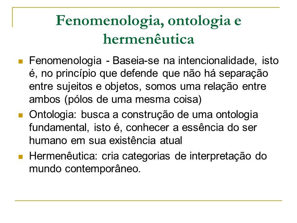Fenomenologia, ontologia e hermenêutica Fenomenologia - Baseia-se na intencionalidade, isto é, no princípio que defende que não há separação entre sujeitos e objetos, somos uma relação entre ambos (pólos de uma mesma coisa) Ontologia: busca a construção de uma ontologia fundamental, isto é, conhecer a essência do ser humano em sua existência atual Hermenêutica: cria categorias de interpretação do mundo contemporâneo.
