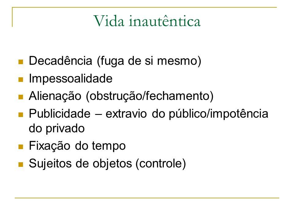 Vida inautêntica Decadência (fuga de si mesmo) Impessoalidade Alienação (obstrução/fechamento) Publicidade – extravio do público/impotência do privado