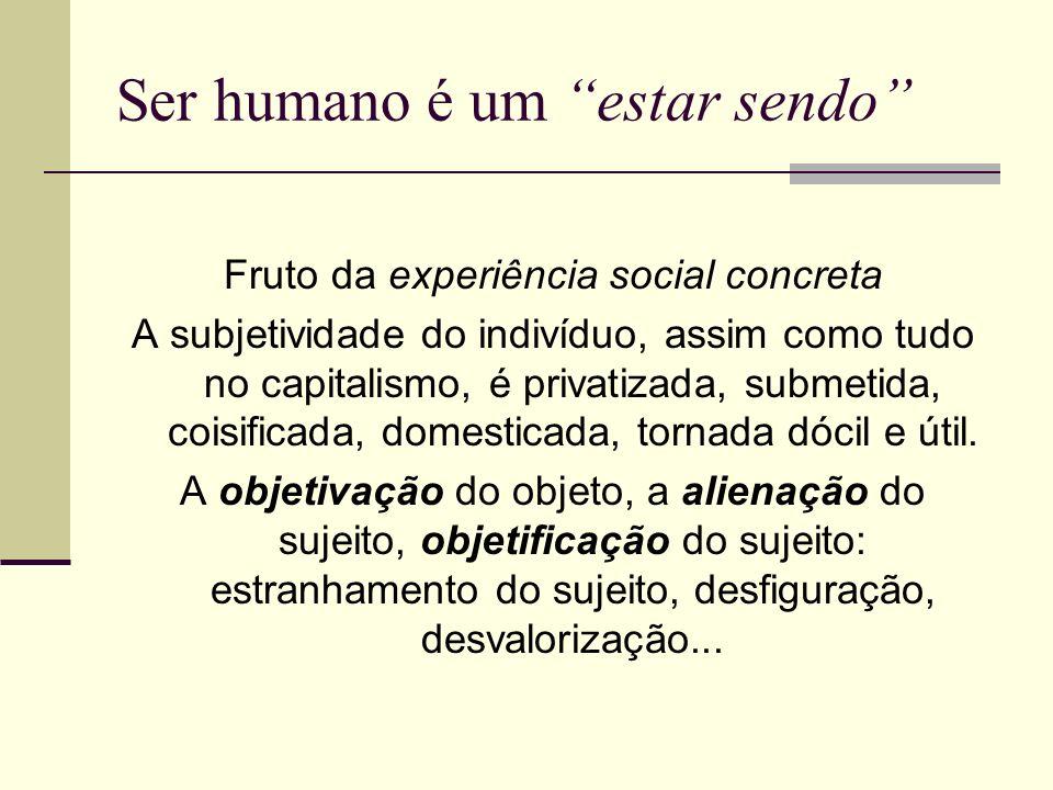 Ser humano é um estar sendo Fruto da experiência social concreta A subjetividade do indivíduo, assim como tudo no capitalismo, é privatizada, submetid