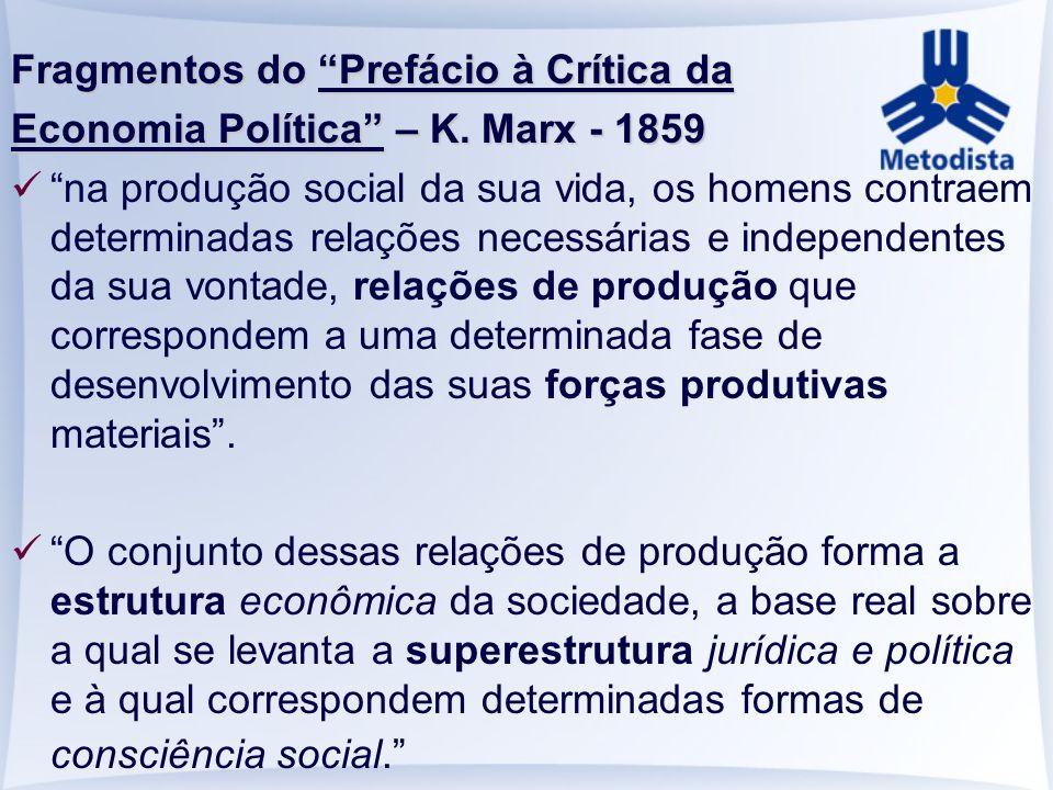 Fragmentos do Prefácio à Crítica da Economia Política – K. Marx - 1859 na produção social da sua vida, os homens contraem determinadas relações necess