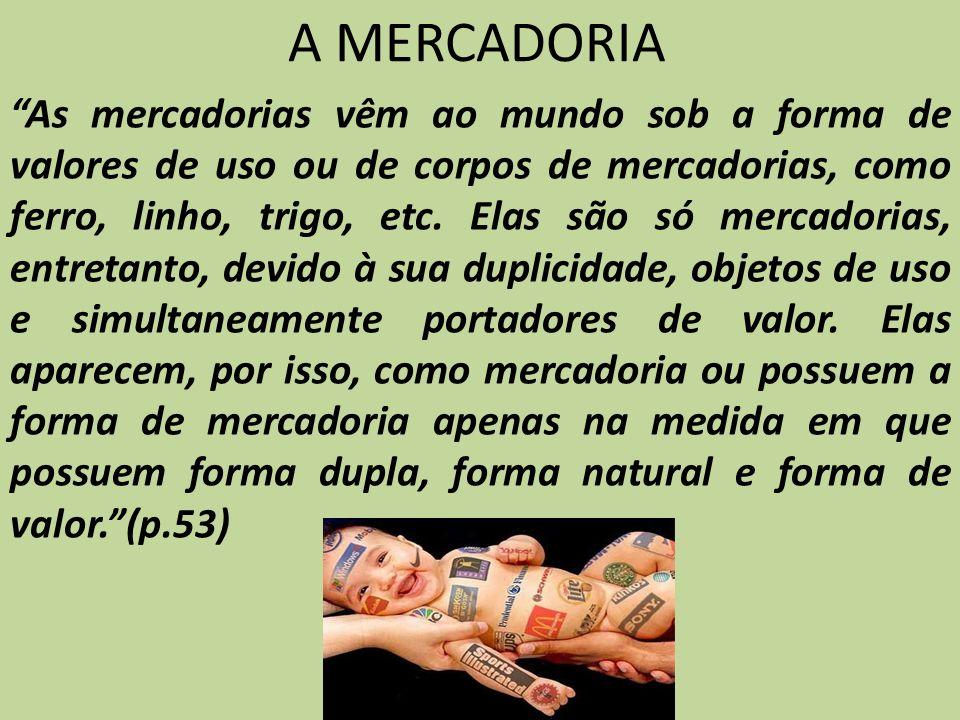 A MERCADORIA As mercadorias vêm ao mundo sob a forma de valores de uso ou de corpos de mercadorias, como ferro, linho, trigo, etc. Elas são só mercado