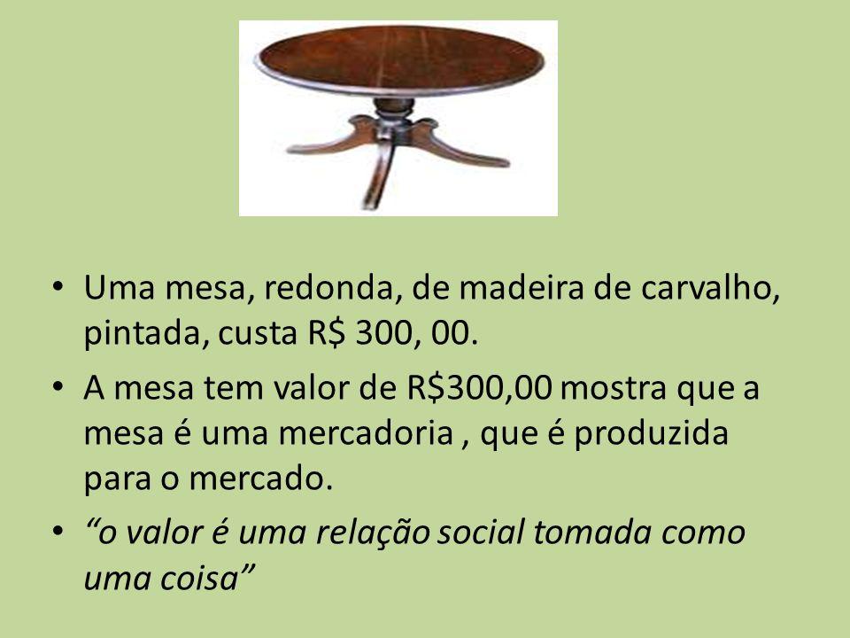 Uma mesa, redonda, de madeira de carvalho, pintada, custa R$ 300, 00. A mesa tem valor de R$300,00 mostra que a mesa é uma mercadoria, que é produzida