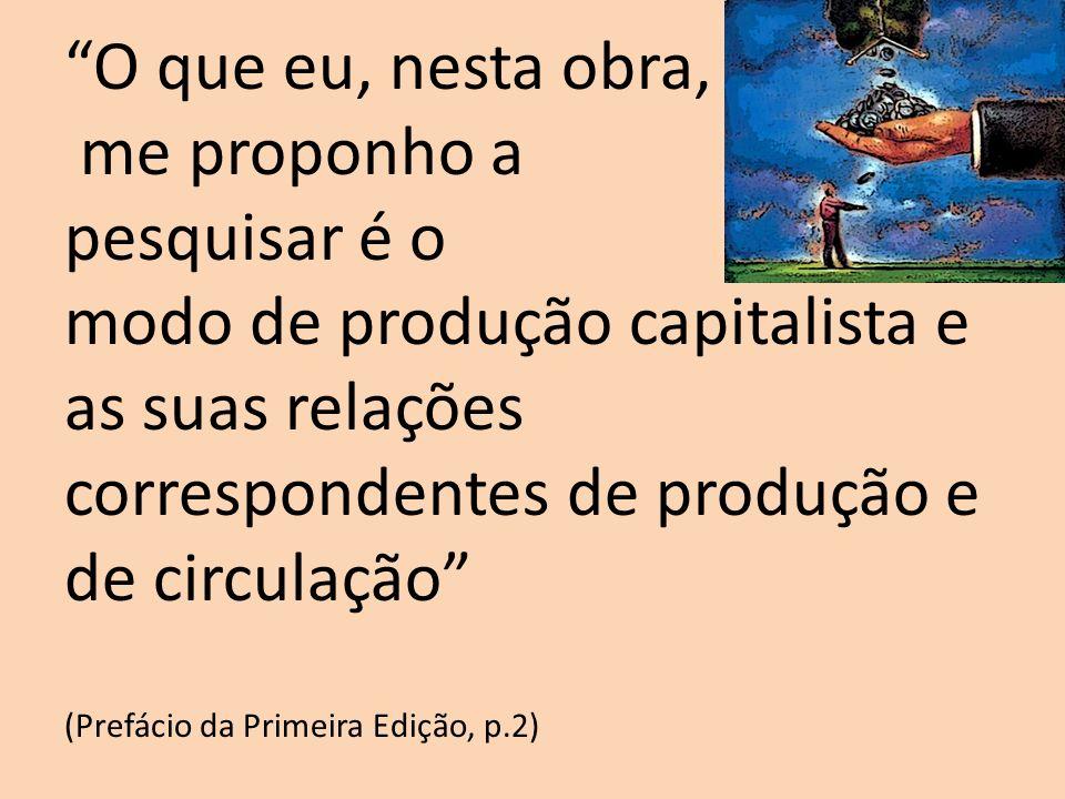 O que eu, nesta obra, me proponho a pesquisar é o modo de produção capitalista e as suas relações correspondentes de produção e de circulação (Prefáci
