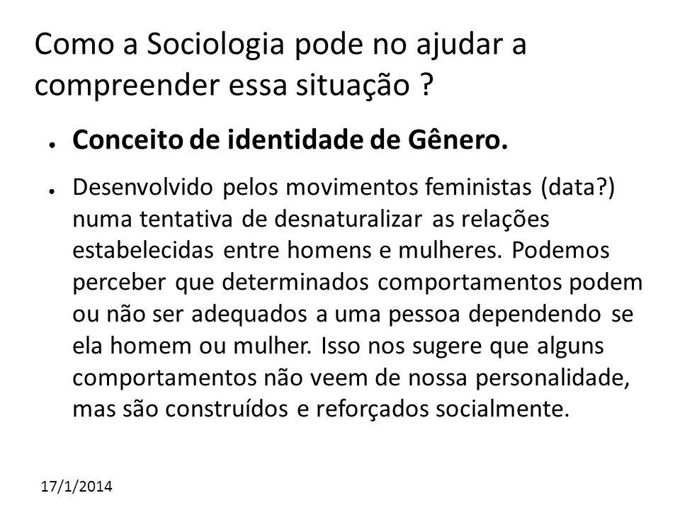 Como a Sociologia pode no ajudar a compreender essa situação ? Conceito de identidade de Gênero. Desenvolvido pelos movimentos feministas (data?) numa