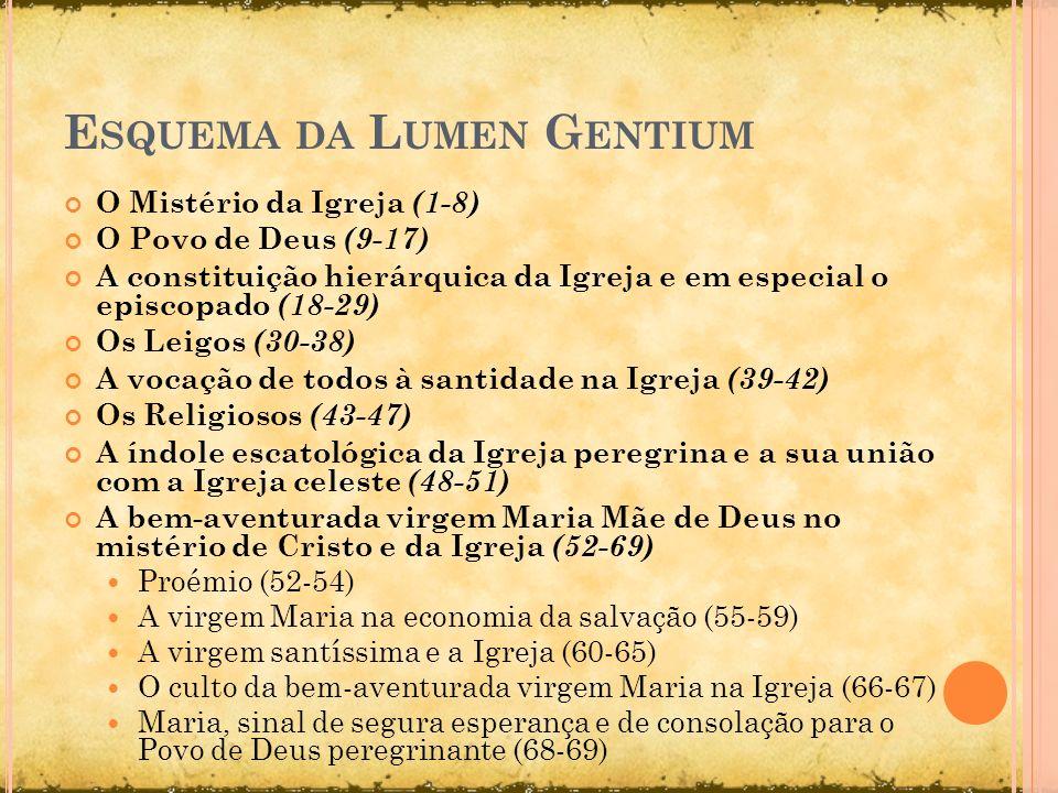 E SQUEMA DA L UMEN G ENTIUM O Mistério da Igreja (1-8) O Povo de Deus (9-17) A constituição hierárquica da Igreja e em especial o episcopado (18-29) O