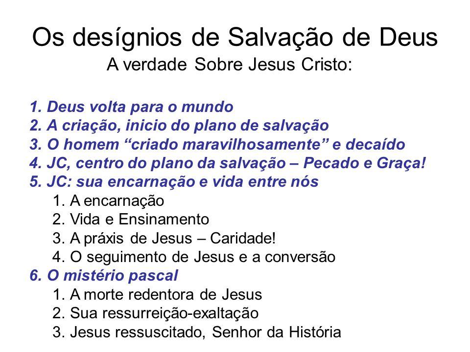Os desígnios de Salvação de Deus A verdade Sobre Jesus Cristo: 1.Deus volta para o mundo 2.A criação, inicio do plano de salvação 3.O homem criado mar