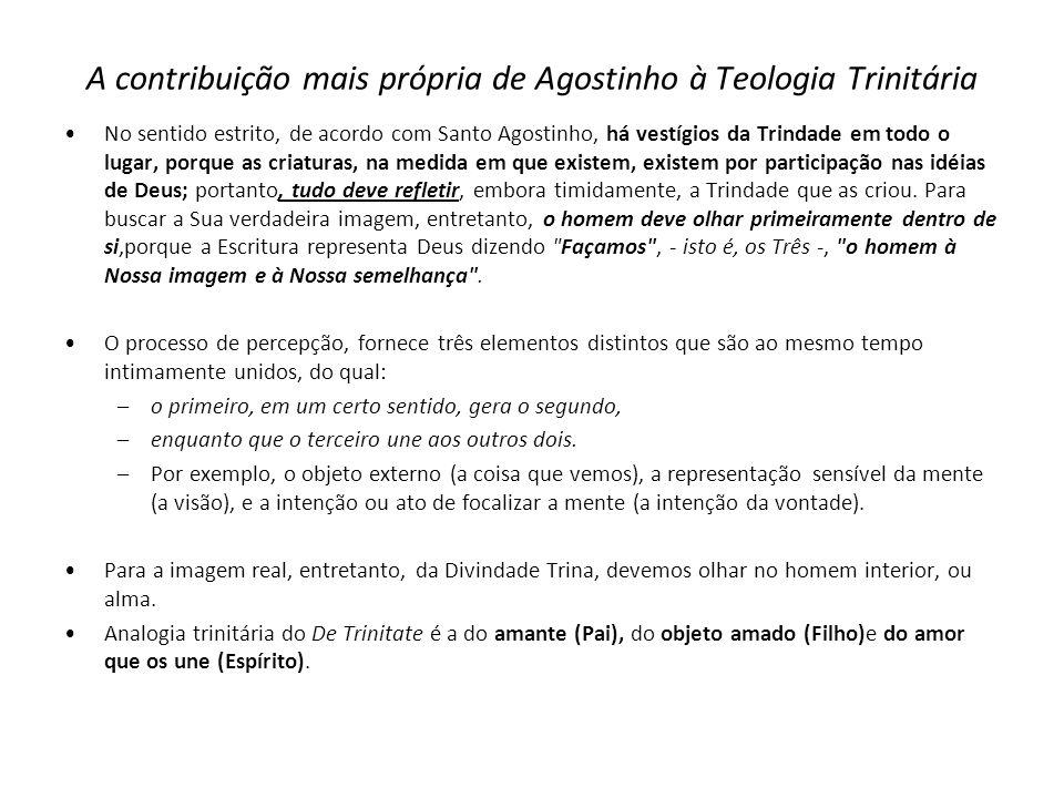 A contribuição mais própria de Agostinho à Teologia Trinitária No sentido estrito, de acordo com Santo Agostinho, há vestígios da Trindade em todo o l