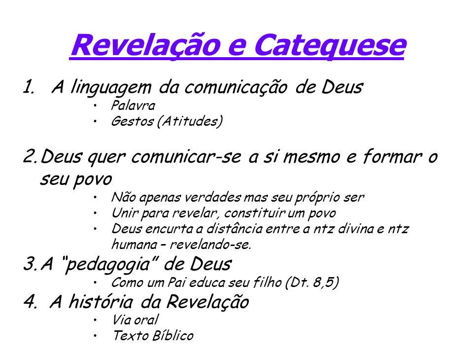 Revelação e Catequese 1. A linguagem da comunicação de Deus Palavra Gestos (Atitudes) 2.Deus quer comunicar-se a si mesmo e formar o seu povo Não apen