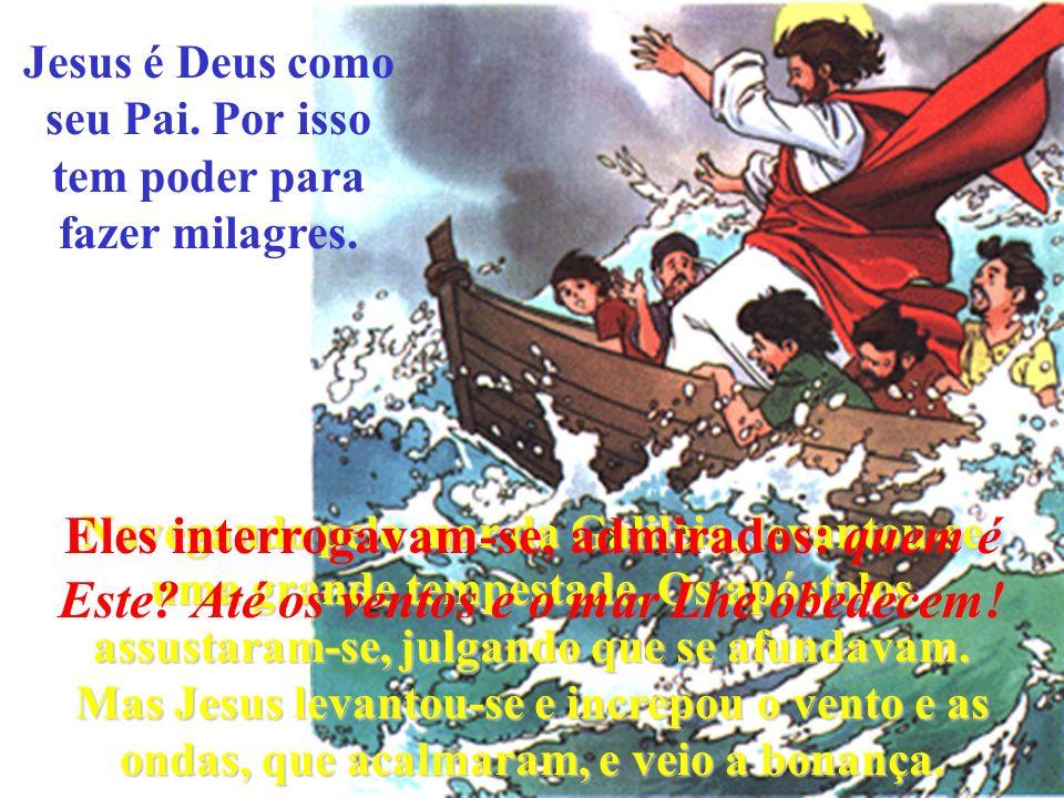 Jesus é Deus como seu Pai.Por isso tem poder para fazer milagres.