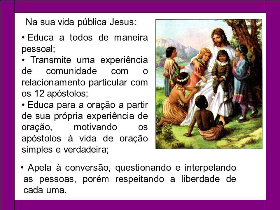 Na sua vida pública Jesus: Apela à conversão, questionando e interpelando as pessoas, porém respeitando a liberdade de cada uma. Educa a todos de mane